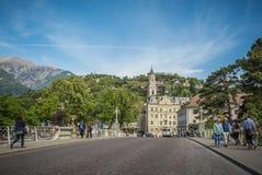 梅拉诺,南蒂罗尔,意大利散步  库存图片