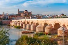 梅斯基塔和罗马桥梁在科多巴,西班牙 免版税库存照片