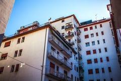 梅斯特雷,意大利- 2016年8月22日:城市大厦著名建筑纪念碑和门面在梅斯特雷特写镜头的 免版税库存图片