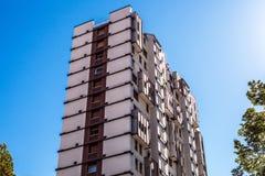 梅斯特雷,意大利- 2016年8月22日:城市大厦著名建筑纪念碑和门面在梅斯特雷特写镜头的 库存图片