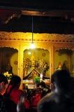 梅特Tsong Khapa雕象在哲蚌寺 图库摄影