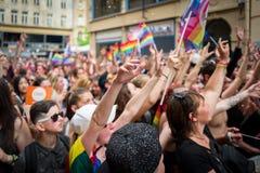 梅茨,法国- 6月17 :未认出的人民庆祝在2017年6月17日的同性恋自豪日游行在梅茨,法国 库存图片
