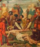 梅赫伦-作为部分的在十字架上钉死从19。分的发怒方式周期。在Onze辛迪里夫Vrouw VA n-Hanswijkbasiliek教会里 库存照片