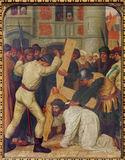 梅赫伦-耶稣的秋天在十字架下。从19。分的发怒方式周期。在Onze辛迪里夫Vrouw VA n-Hanswijkbasiliek 图库摄影