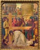 梅赫伦-耶稣的秋天在十字架下 从19 分 分的发怒方式周期 免版税库存照片