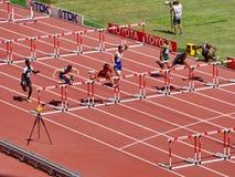 梅里特赢取了110m障碍的初步比赛 免版税库存图片