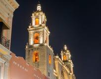 梅里达大教堂在晚上 库存图片