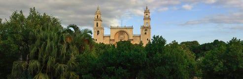 梅里达大教堂,尤加坦,墨西哥全景  库存照片