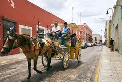 梅里达/尤加坦,墨西哥- 2015年5月31日:马在梅里达市街道上的支架服务  库存照片