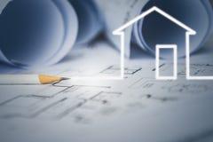 梦之家凹道的概念由设计师的有结构图的 图库摄影