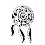梦想俘获器标志 太阳和月亮 种族印地安元素 库存例证