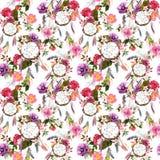 梦想俘获器,花,羽毛 无缝的模式 水彩 免版税库存照片