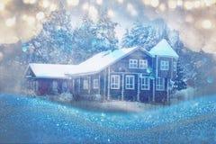 梦想和抽象不可思议的冬天风景照片 免版税库存图片
