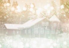 梦想和抽象不可思议的冬天风景背景 免版税库存图片