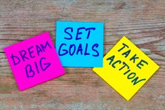 梦想大,制定了目标,采取行动概念-诱导忠告 免版税库存照片