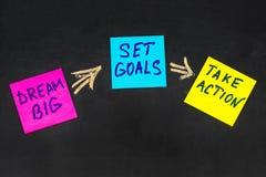 梦想大,制定了目标,采取行动概念-诱导忠告 免版税库存图片
