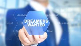 梦想家被要,工作在全息照相的接口,视觉屏幕的人 免版税图库摄影