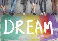 梦想有希望的启发想象力目标视觉概念 库存照片