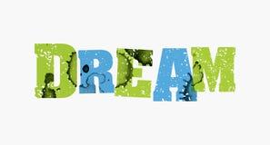 梦想概念五颜六色的被盖印的词例证 免版税库存照片