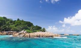 梦想海岛。 La Digue。 Saychelles 库存图片