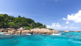 梦想海岛。 La Digue。 Saychelles 图库摄影