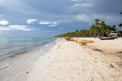 梦想海滩在多米尼加共和国 免版税图库摄影