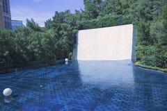 梦想湖与40英尺瀑布的在Wynn旅馆和赌博娱乐场 免版税库存照片