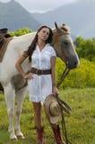 梦想的女牛仔 免版税库存图片
