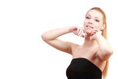 梦想的金发碧眼的女人 接近的纵向 女性年轻白肤金发的模型 蓝色 库存图片