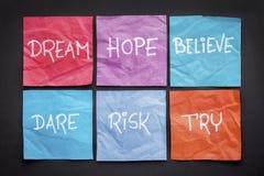 梦想,希望,相信,冒险,并且尝试 免版税图库摄影