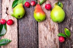 梨和小苹果在木土气背景 顶视图 框架 秋天收获拷贝空间 图库摄影