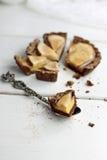 梨和香草乳蛋糕馅饼 免版税库存照片