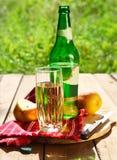 梨萍果汁和梨在庭院里 免版税图库摄影
