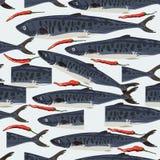 梭子鱼销售鱼被削减的无缝的样式 皇族释放例证