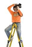 梯子摄影师stap 免版税库存照片