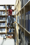 梯子的办公室工作者在文件存储室 免版税库存图片