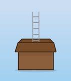 梯子纸板箱 免版税库存照片