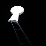 梯子通过对明亮的光的匙孔 免版税库存图片