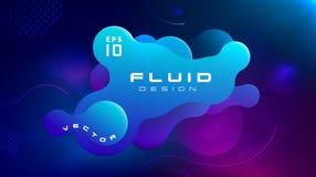 梯度可变的蓝色紫色颜色抽象背景 液体塑造未来派概念 创造性的行动动力学流体 皇族释放例证