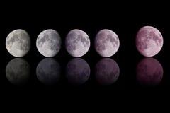 梯度在黑色的颜色月亮 免版税库存照片
