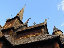 梯级教会在Lom,挪威 免版税库存图片
