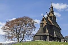 梯级教会Hopperstad 免版税库存图片