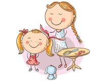 梳她的女儿` s头发的动画片愉快的母亲 向量例证