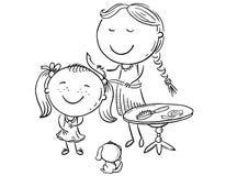 梳她的女儿` s头发,传染媒介例证的愉快的母亲 库存例证