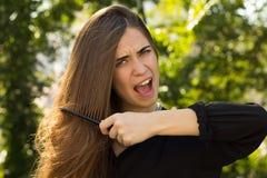 梳她的头发的妇女在公园 库存照片