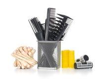 梳子刷子和头发切口剪, 免版税库存图片