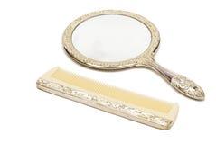 梳子镜子集 免版税图库摄影