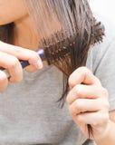 梳湿头发的妇女 库存照片