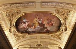 梵蒂冈博物馆,梵蒂冈的内部和细节 免版税库存照片