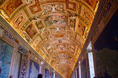 梵蒂冈博物馆-地图透视图画廊  免版税库存照片